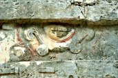 Mayan art carved into a ruin at Tulum, Quintana Roo, MX. (Photo/Kendra Yost)
